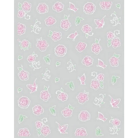 Floral Blush Pink Roses Nail Stickers