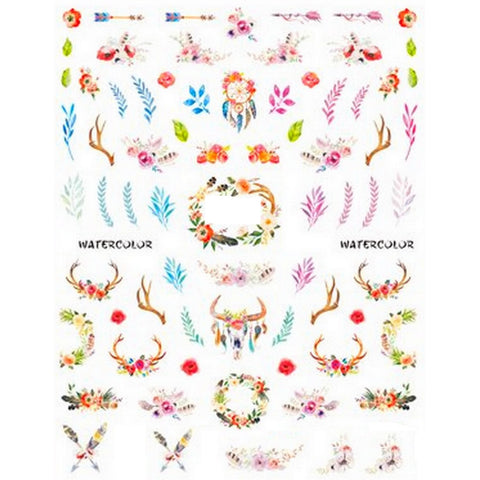 Festival Floral Water Colour Nail Stickers
