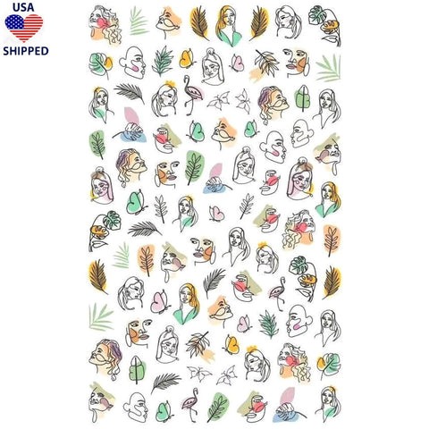 (USA) Abstract Botanical Vibes Nail Stickers