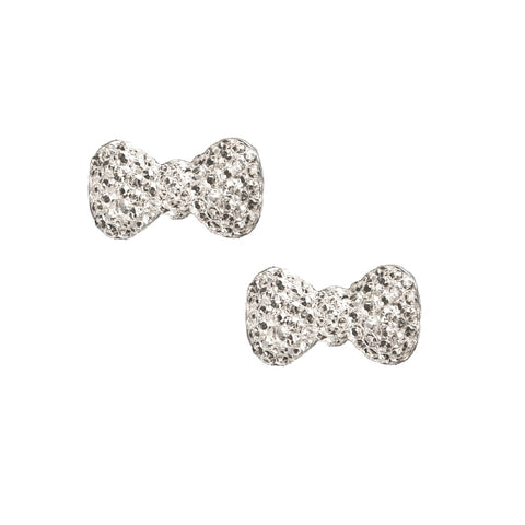 Sparkly Bows Charms / Pair / Bridal Silver