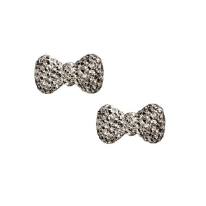 Sparkly Bows Charms / Pair / Gunmetal