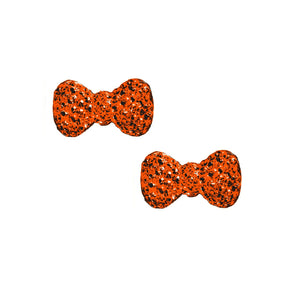 Sparkly Bows Charms / Pair / Halloween Orange