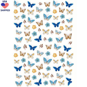 (USA) Butterflies Blue Variety Nail Stickers