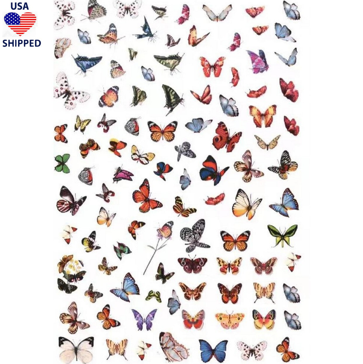 (USA) Butterflies Mix #1 Nail Stickers