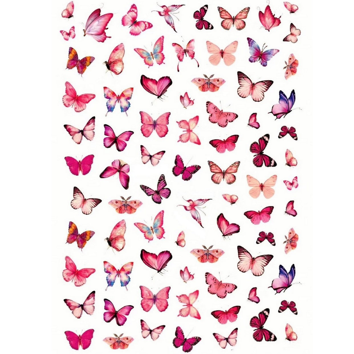 Animals Butterflies Pink Variety Nail Stickers