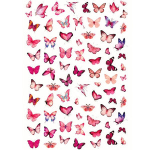 Animals Butterflies Pink Nail Stickers