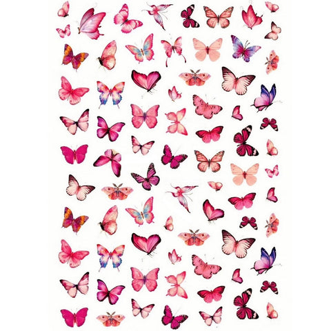 Butterflies Pink Variety Nail Stickers
