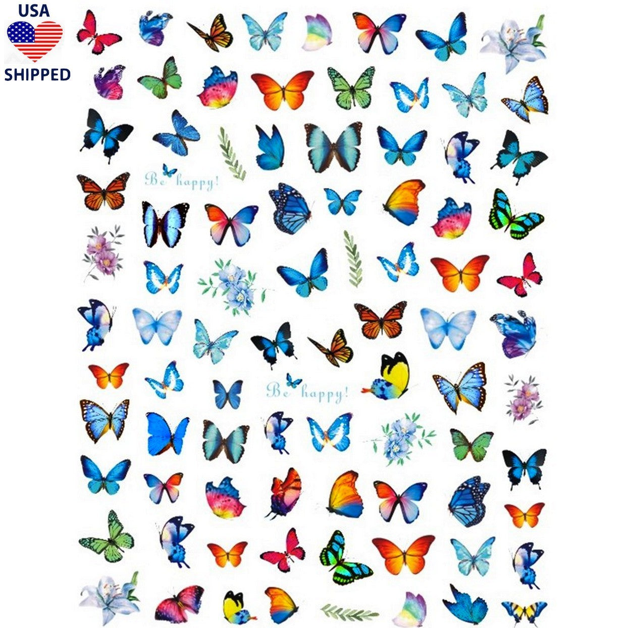 (USA) Butterflies Spring Mix Nail Stickers