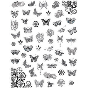 Butterflies Swirls Nail Stickers