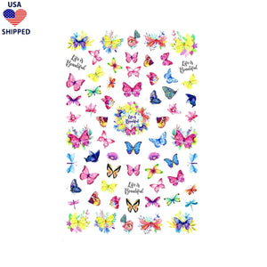 (USA) Butterflies Watercolor Nail Stickers