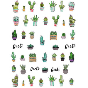Plants Cute Cacti Nail Stickers