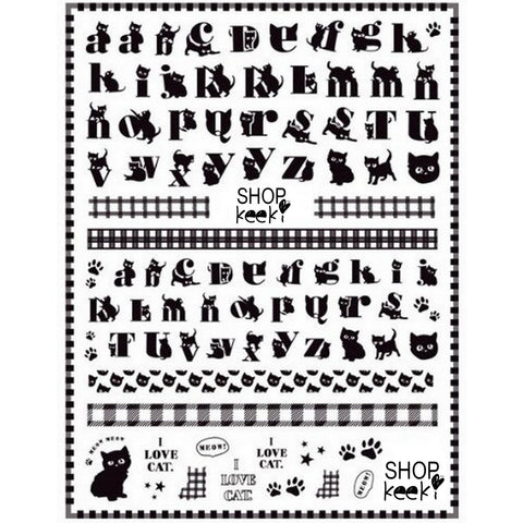 Cats Font Letters Nail Stickers