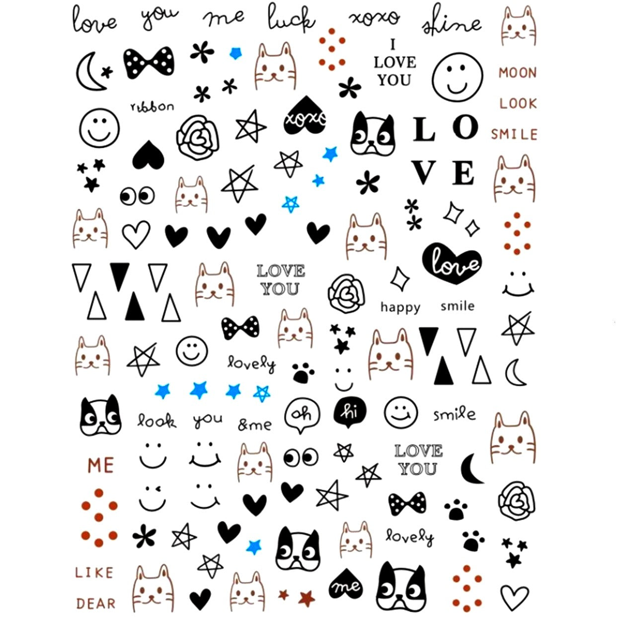Cats & Dogs Doodles Nail Stickers