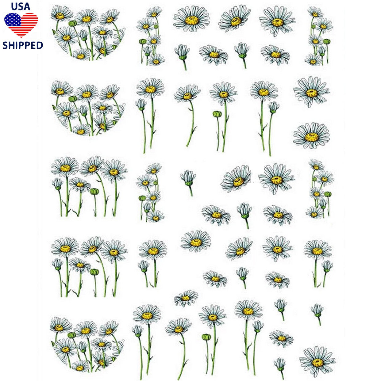 (USA) Floral Chamomile Flowers Nail Stickers