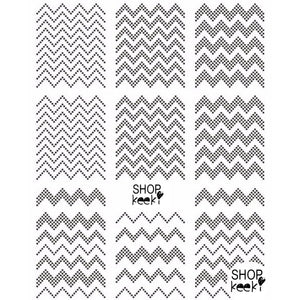 Pattern Dotted Chevron Black Nail Stickers
