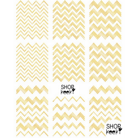 Pattern Dotted Chevron Gold Nail Stickers