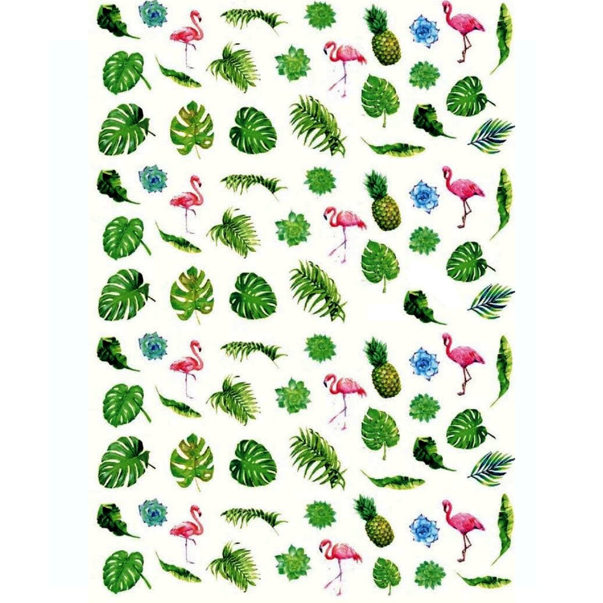 Summer Tropical Leafs & Flamingos Nail Stickers