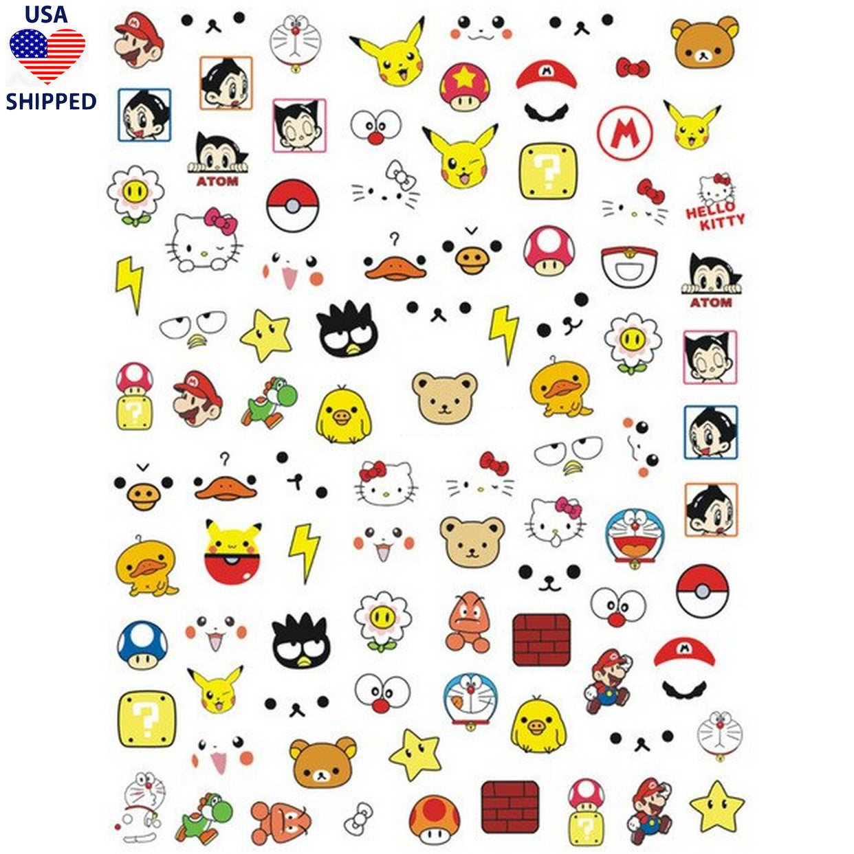 (USA) Kawaii Gamer Mix Nail Stickers