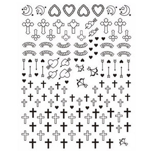 Christian Crosses Black Nail Stickers