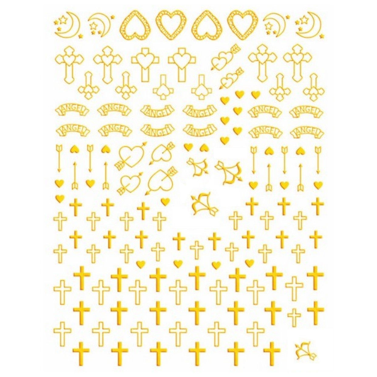 Christian Crosses Gold Nail Stickers