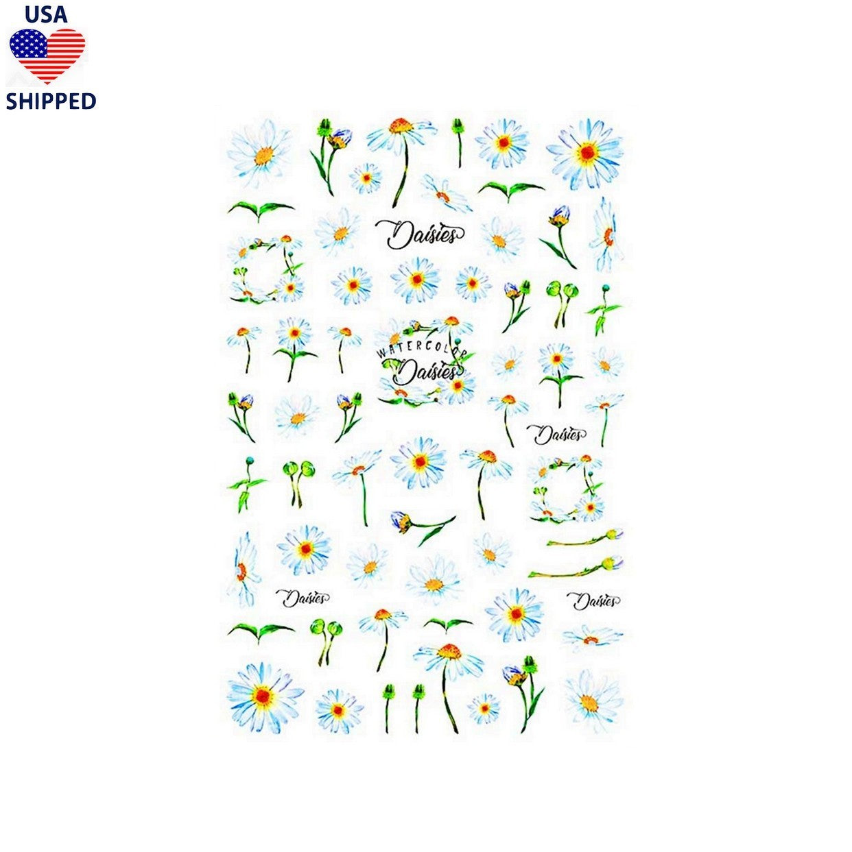 (USA) Floral Daisies Watercolor Nail Stickers