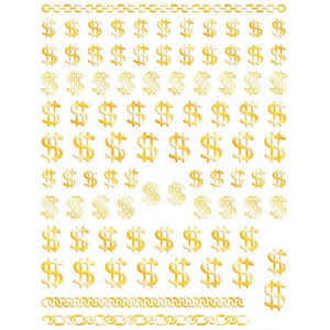 Dollar Sign Gold Nail Stickers