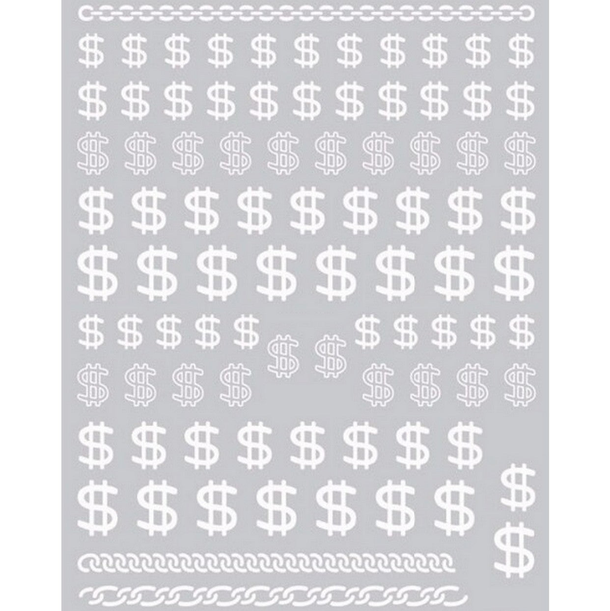 Dollar Signs White Nail Stickers