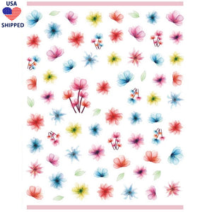 (USA) Floral Bright Dried Flowers Nail Stickers