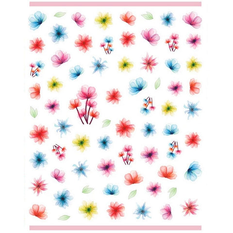 Floral Bright Dried Flower Nail Stickers