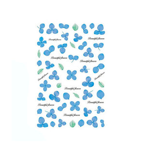 Floral Dried Flowers Blue Nail Stickers