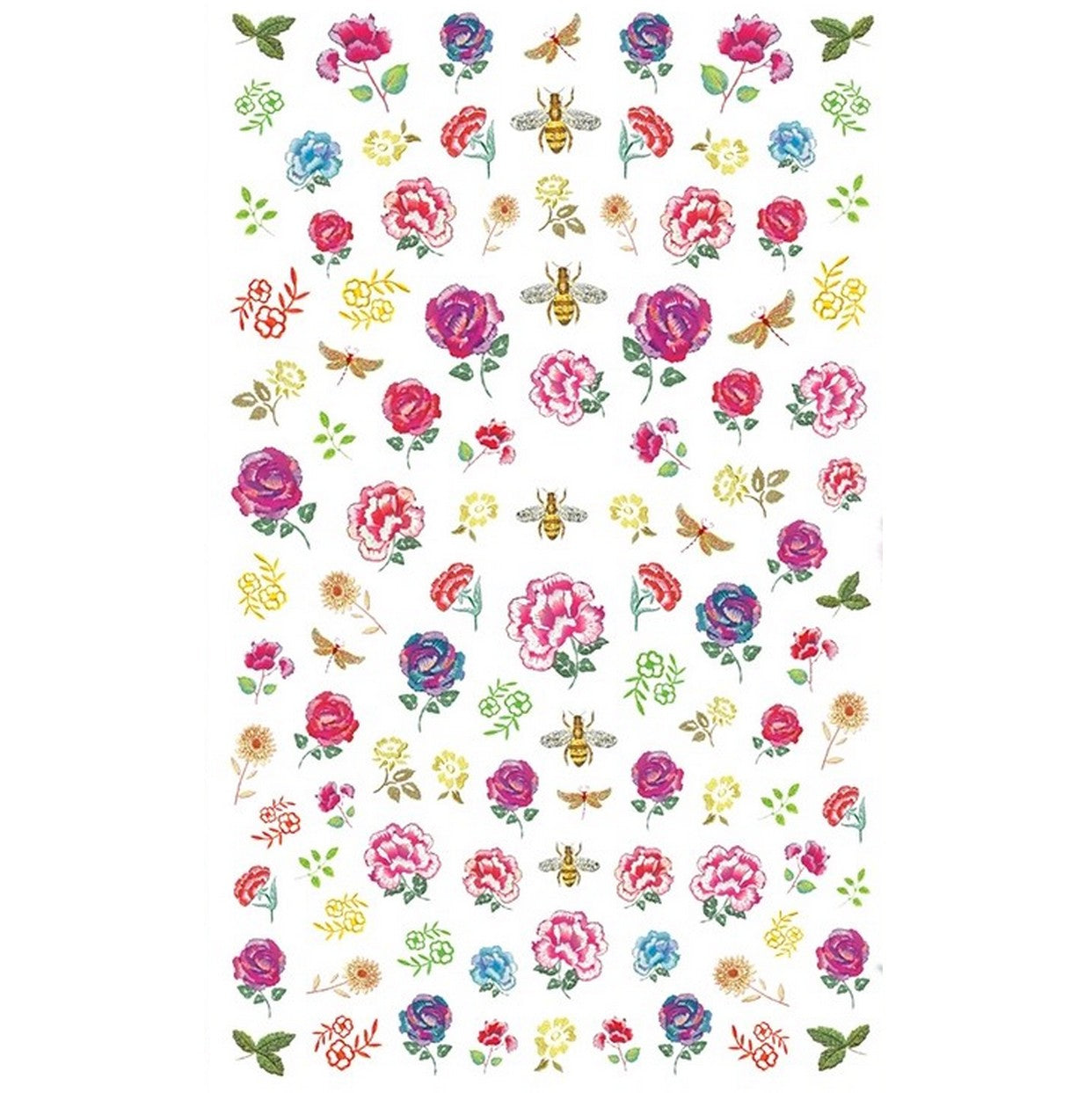 Floral Embroidered Roses Nail Stickers