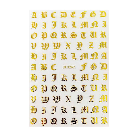 Font Petite Gothic English Gold Nail Stickers