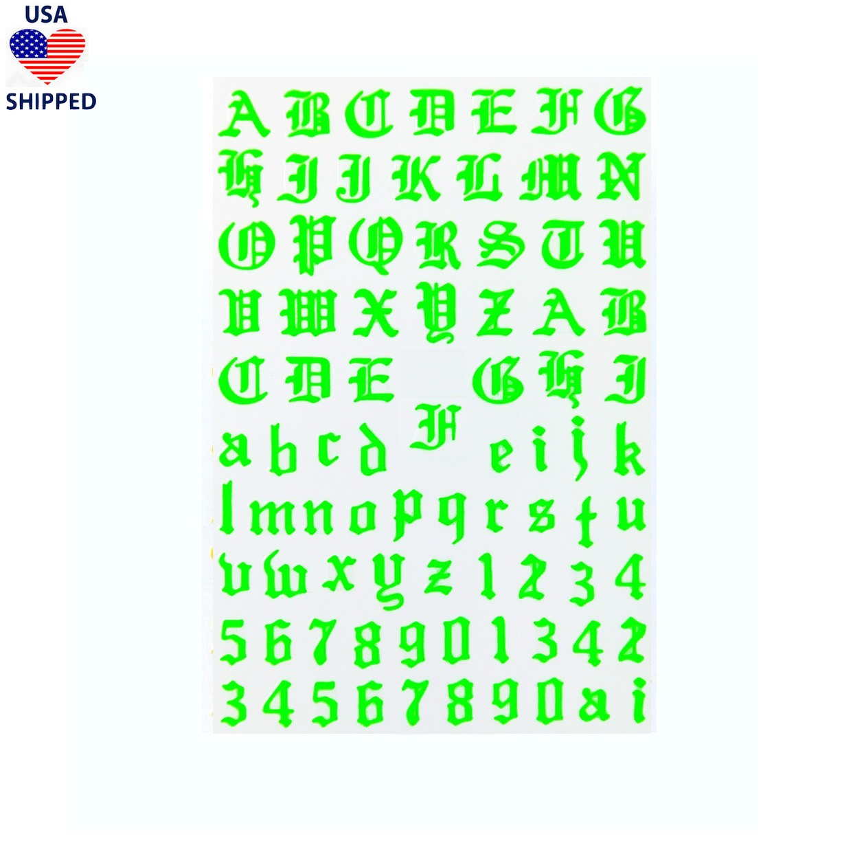 (USA) Font & Numerals Gothic English Neon Green Nail Stickers