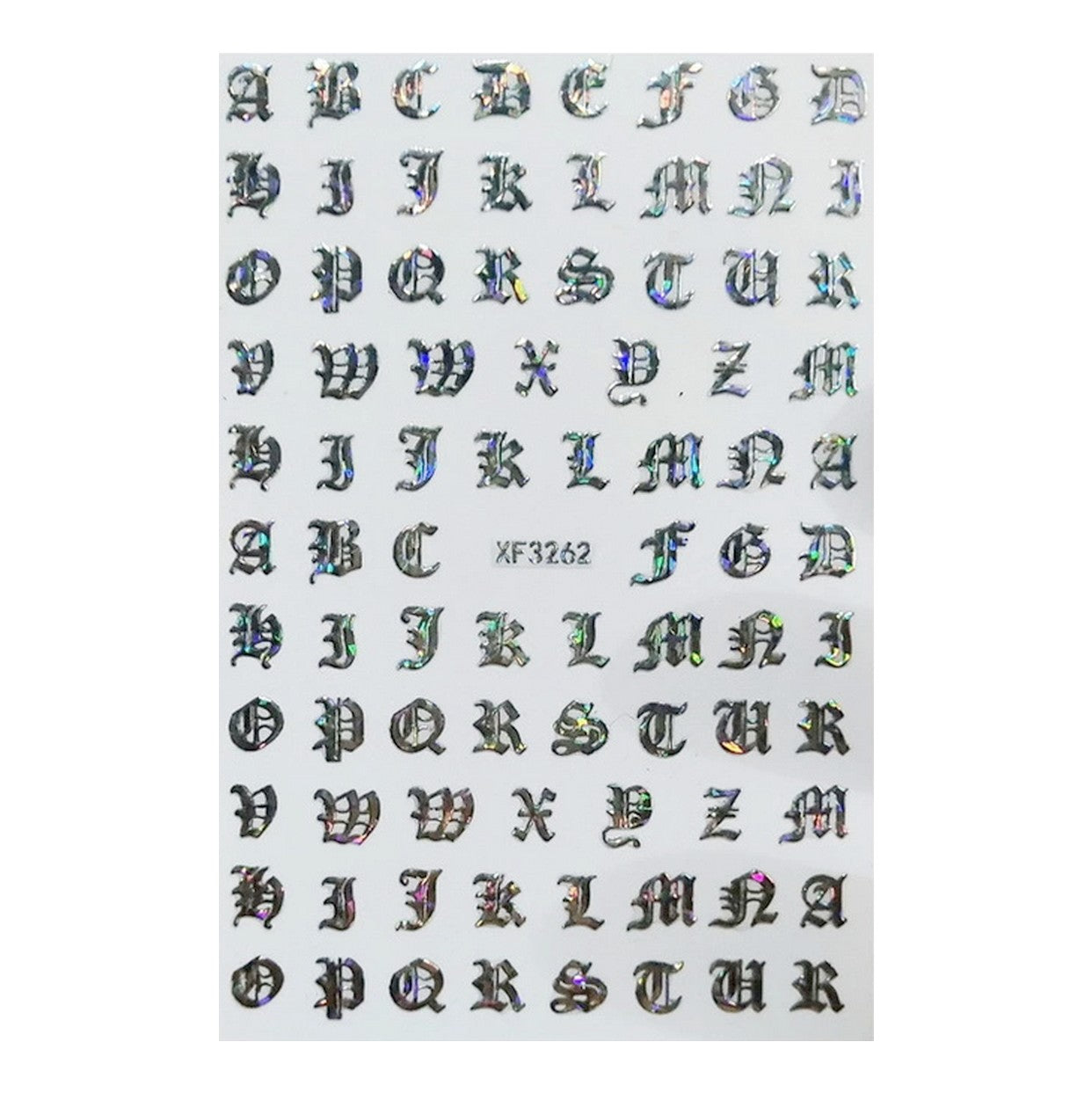 Font Petite Gothic English Silver Holo Nail Stickers