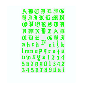 Font & Numerals Gothic English Neon Green Nail Stickers