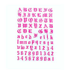 Font & Numerals Gothic English Neon Pink Nail Stickers