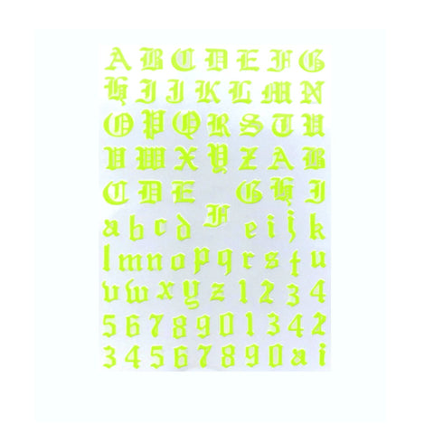 Font & Numerals Gothic English Neon Yellow Nail Stickers