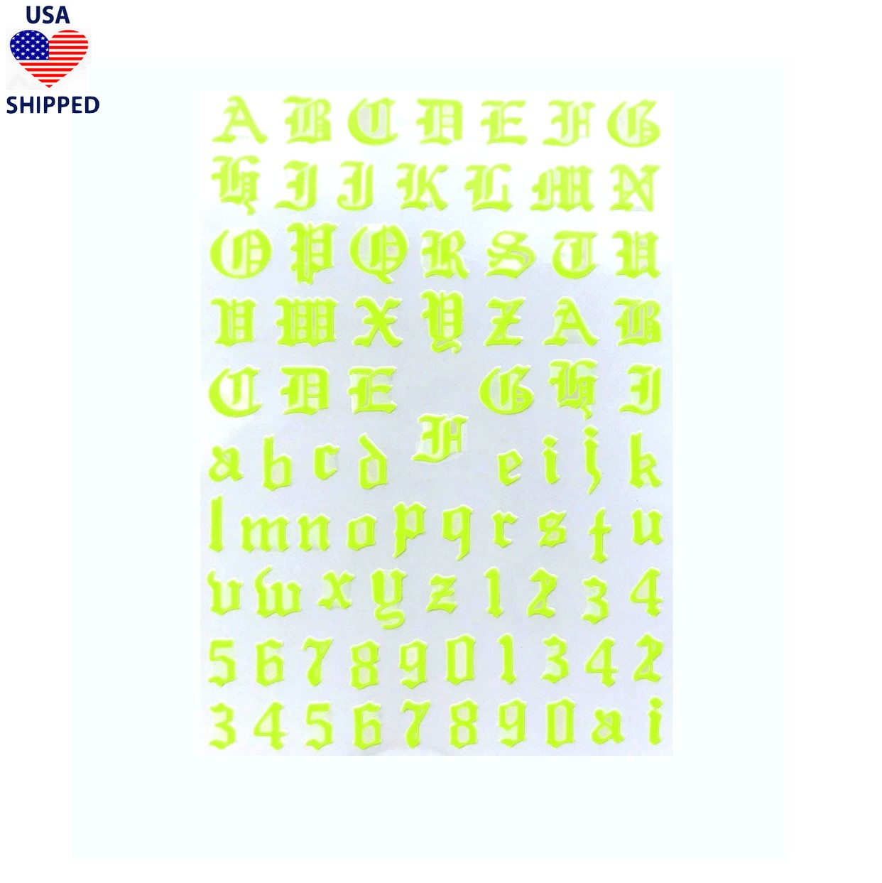 (USA) Font & Numerals Gothic English Neon Yellow Nail Stickers