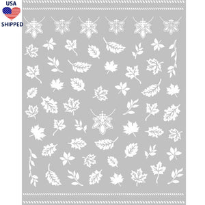 (USA) Fall Leaves White Nail Stickers