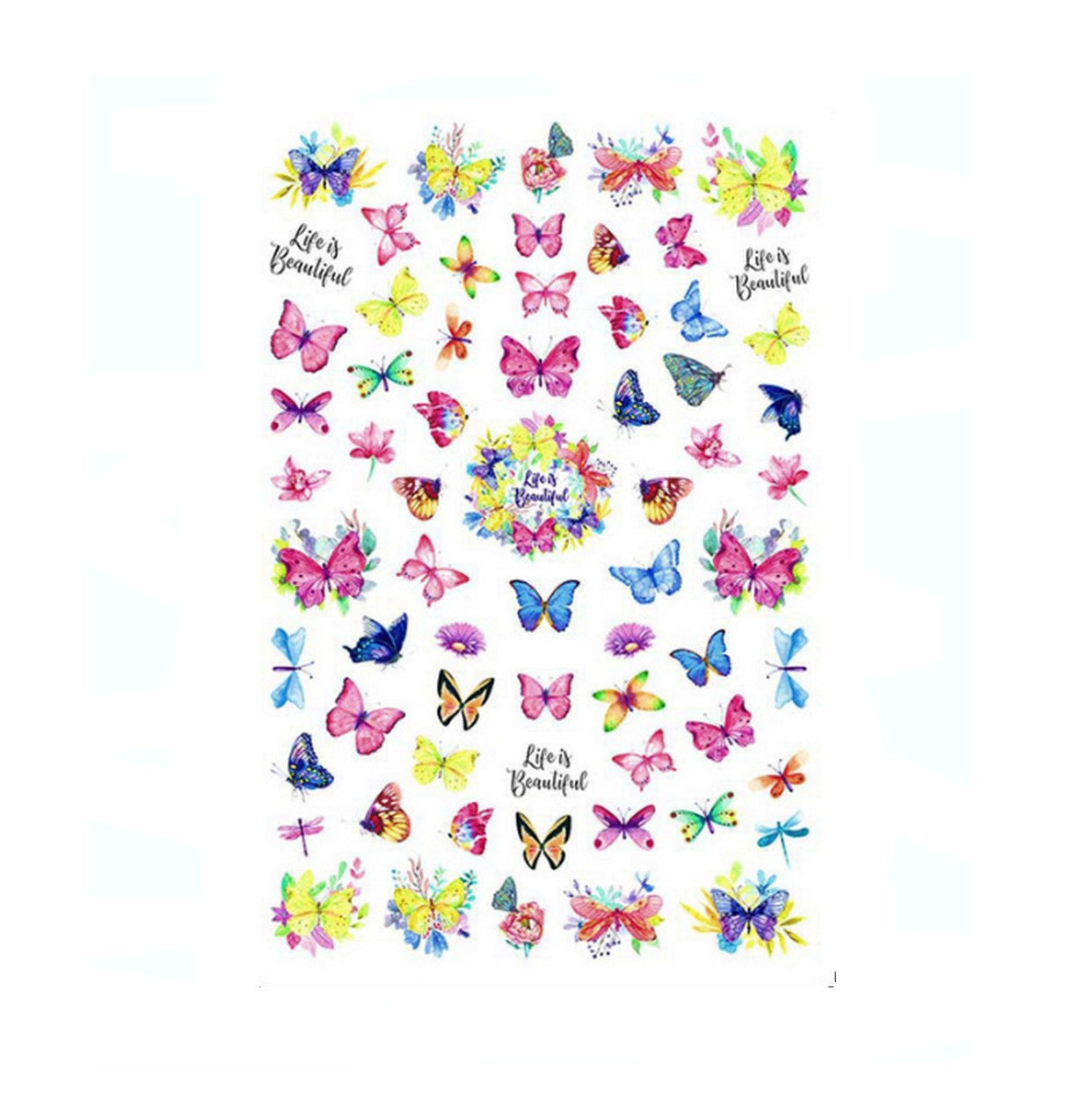 Butterflies Watercolour Nail Stickers