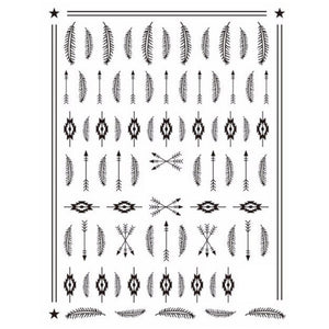 Festival Tribal Feathers Black Nail Stickers