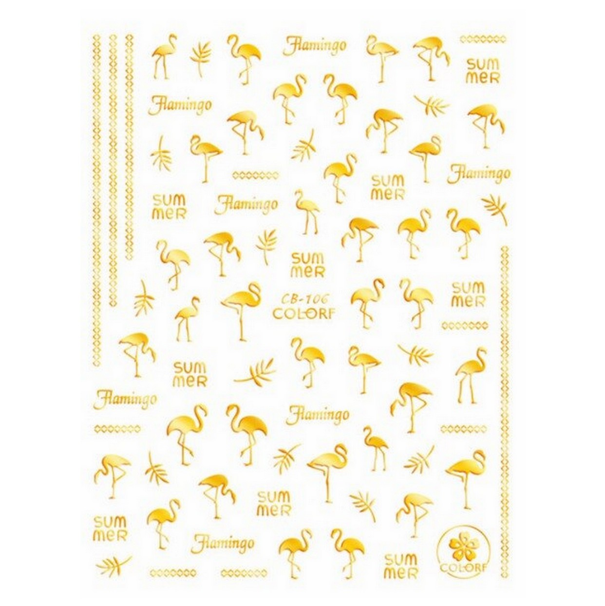 Summer Flamingo Gold Nail Stickers