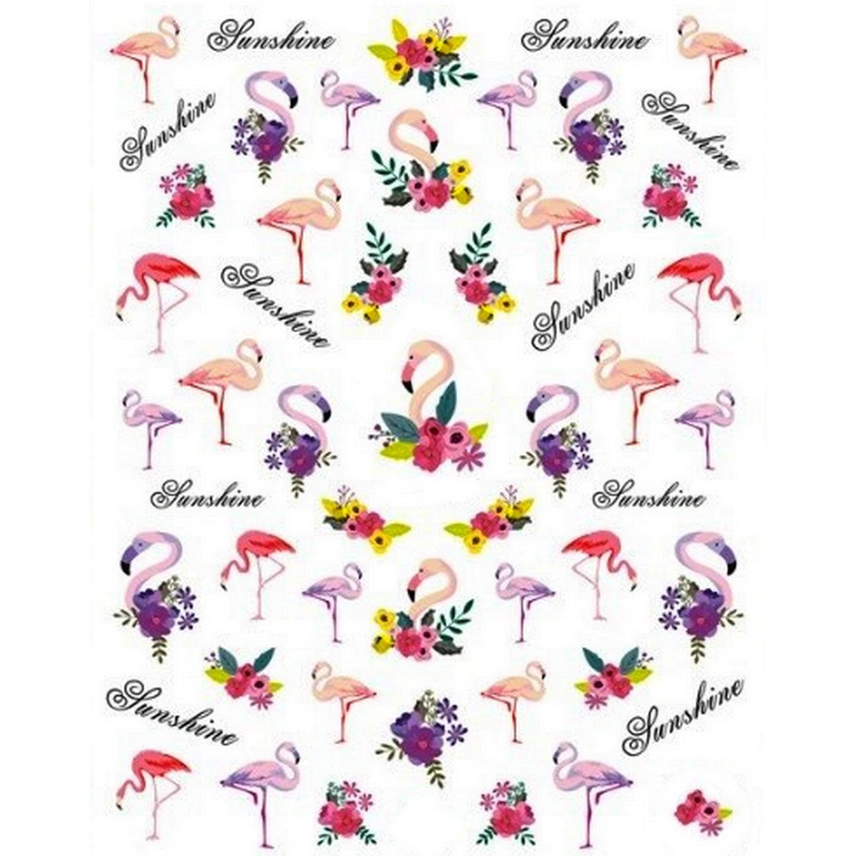 Summer Flamingos Floral Nail Stickers