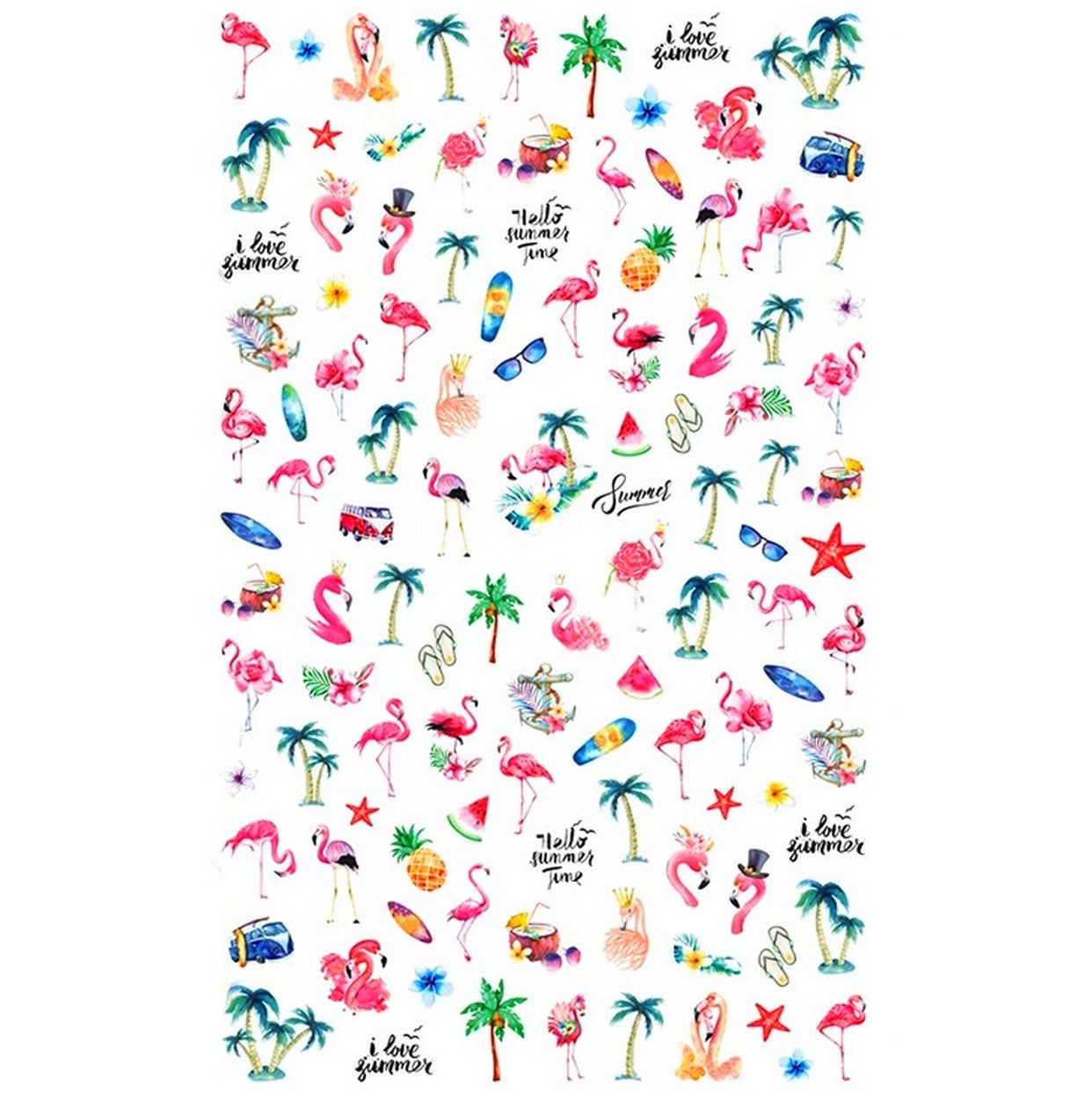 Summer Flamingo Island Nail Stickers