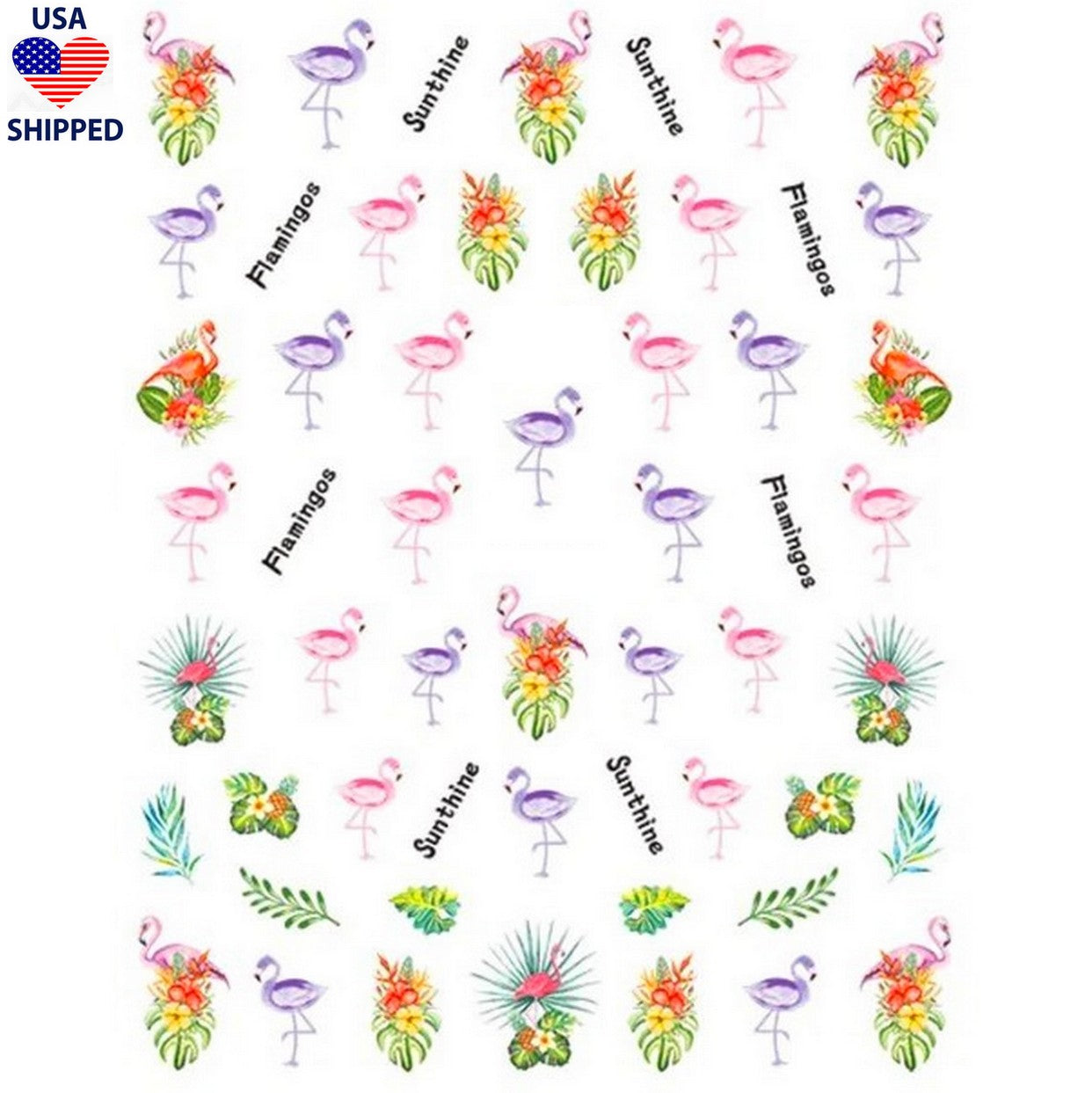 (USA) Summer Flamingos Nail Stickers