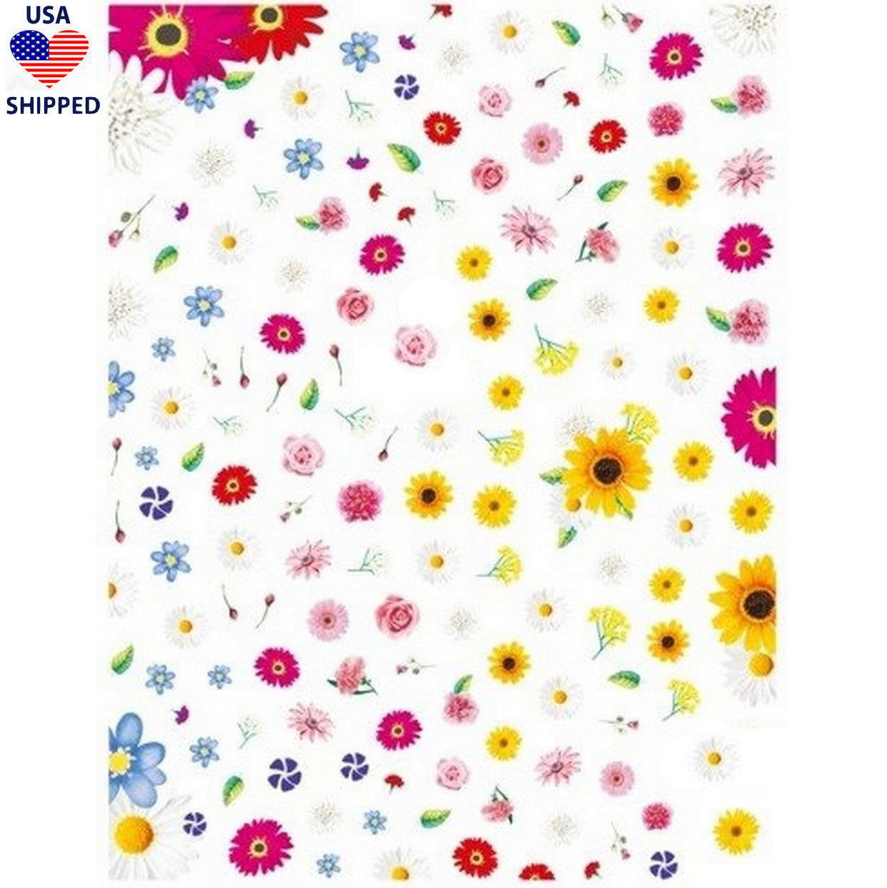 (USA) Floral Mix Nail Stickers