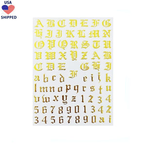 (USA) Font & Numerals Gothic English Gold Nail Stickers