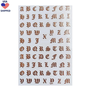 (USA) Font Gothic English Rose Gold Nail Stickers