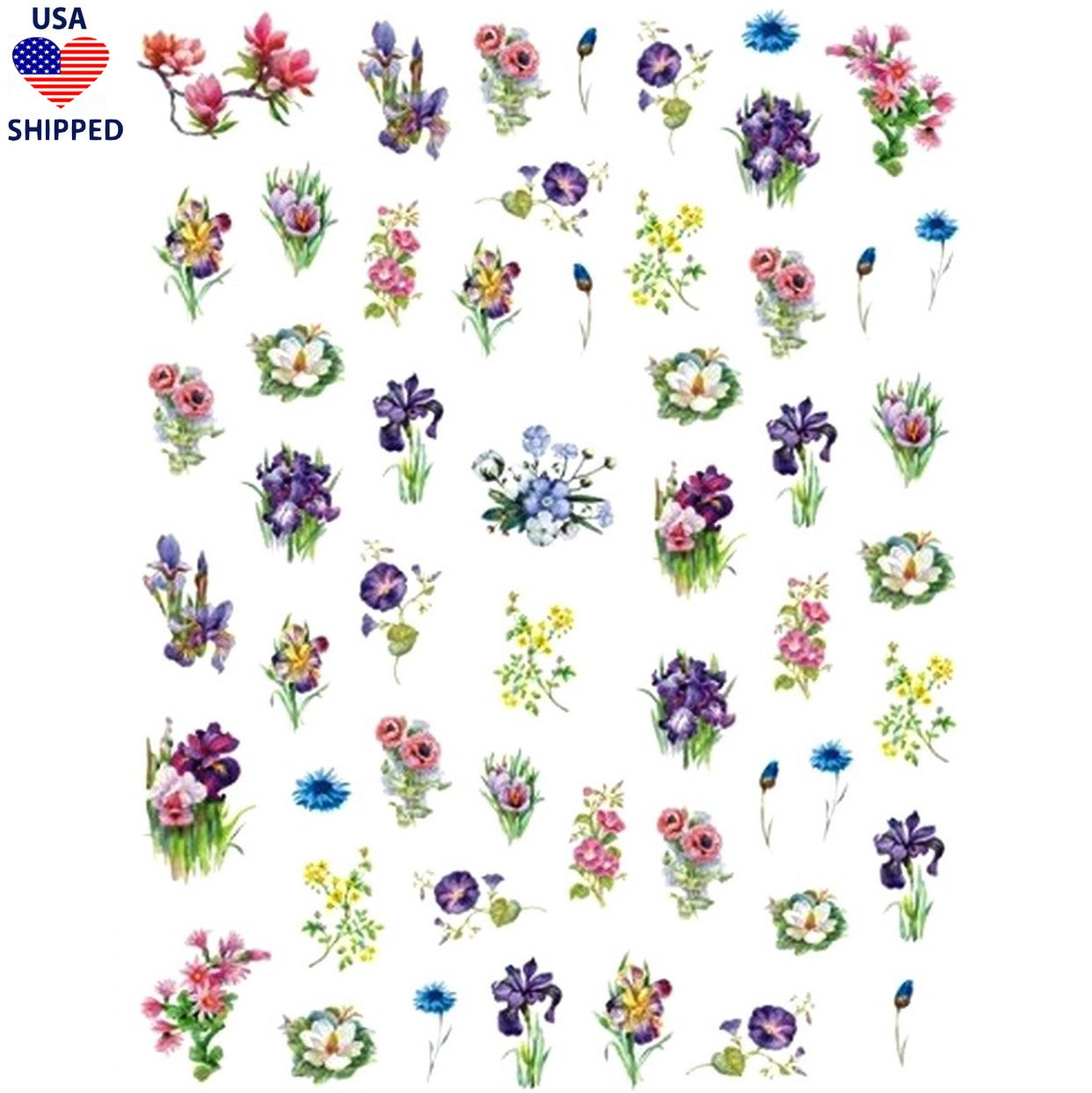 (USA) Floral Forrest Blooms Nail Stickers