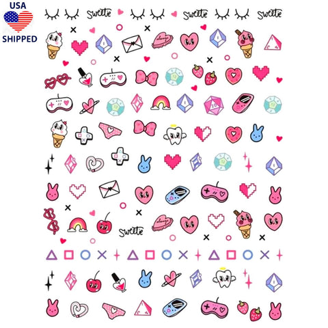 (USA) Nostalgic Gamer Girl Nail Stickers